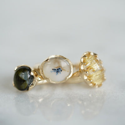 Chatoyant Rutilated quartz Queen Gold ring