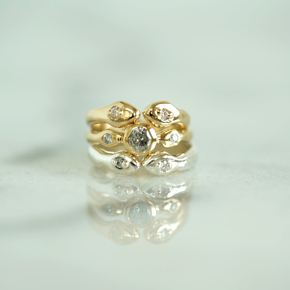 Snake Solitaire gold ring