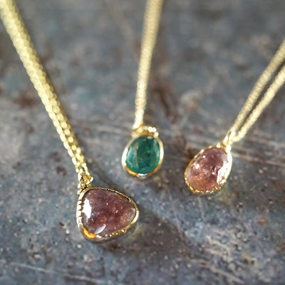 Copy of Pink Tourmaline gold necklace small