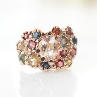 Deco Ring with Multicolor sapphires