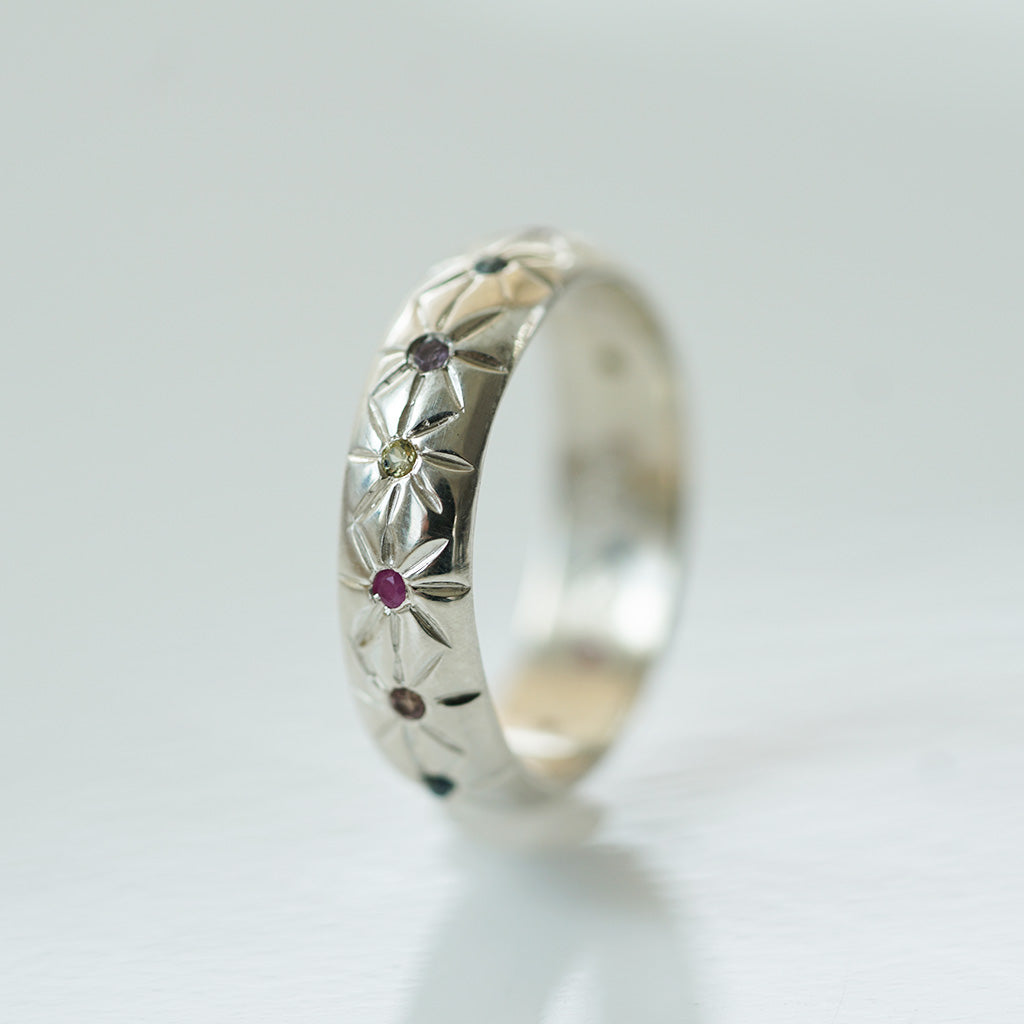 Cross star multicolored sapphires silver ring