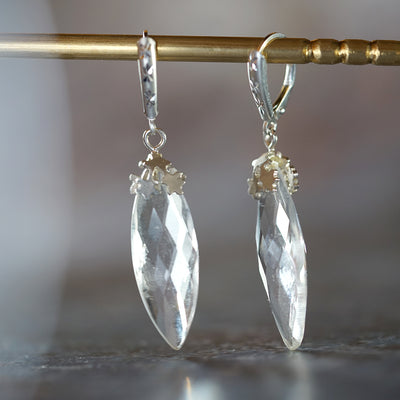 White quartz Drop earrings