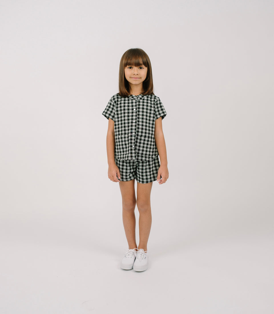 Gingham Shorts, Black & White, Shorts - bbobbo