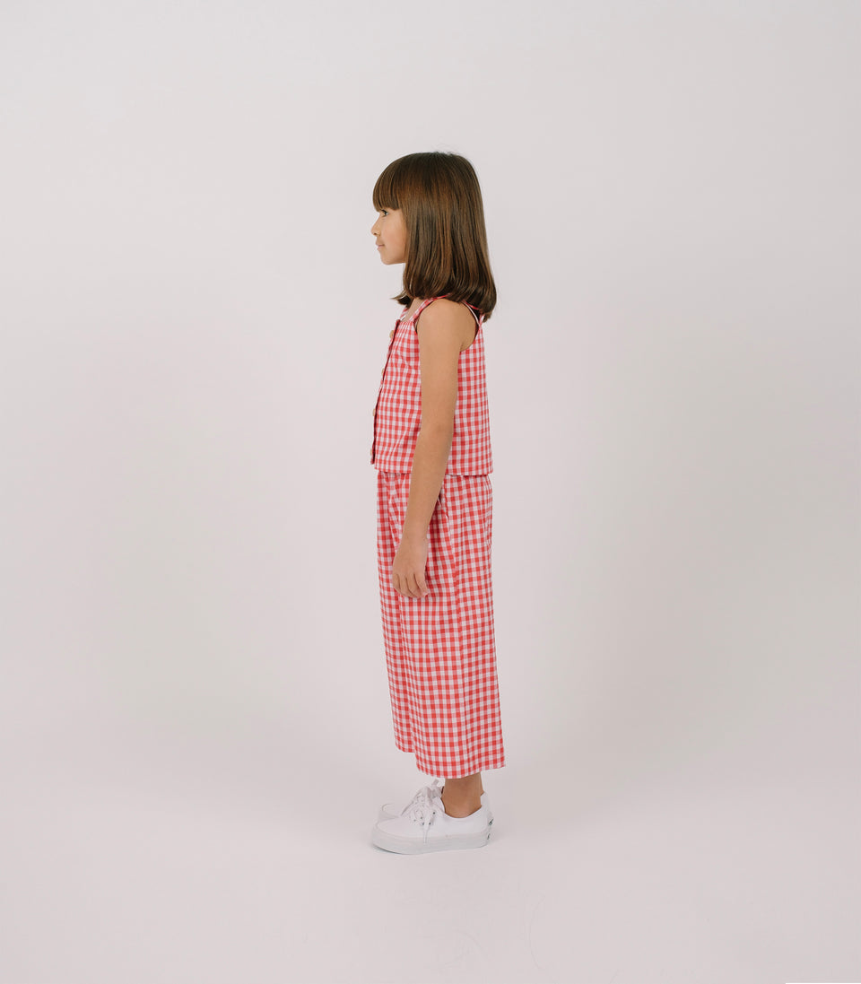 Gingham Wide Leg Pants, Red & White, Pants - bbobbo
