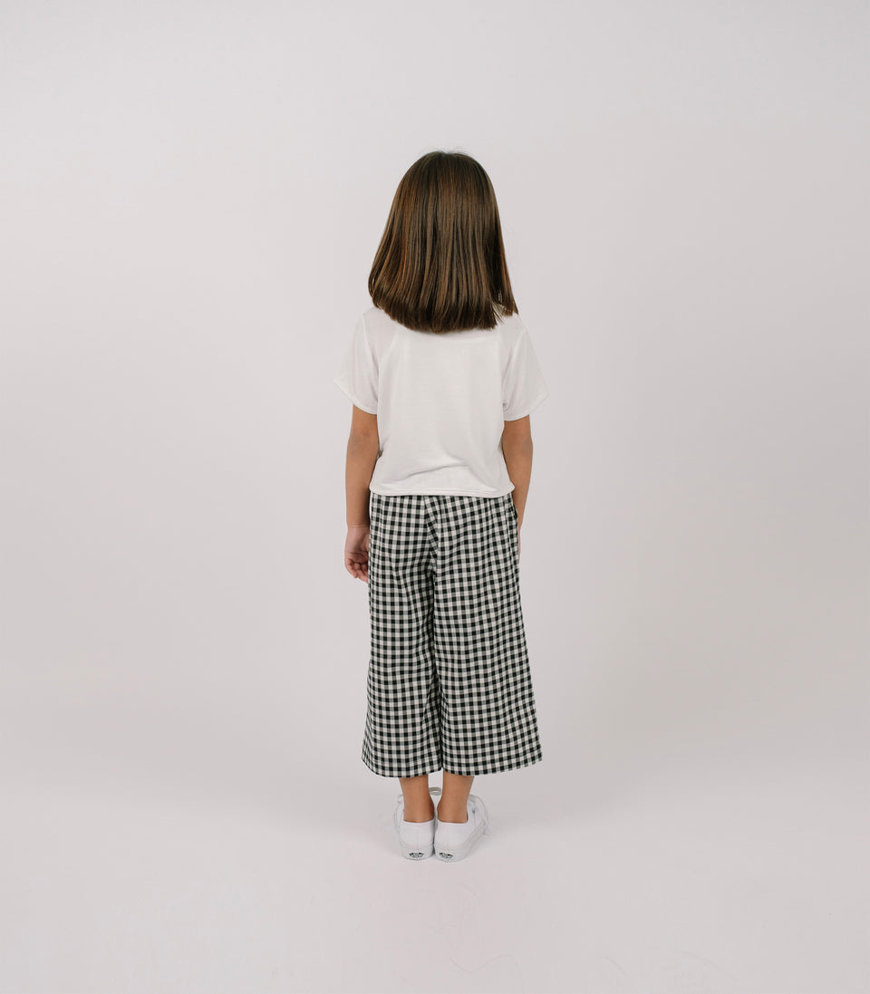 Gingham Wide Leg Pants, Black & White, Pants - bbobbo