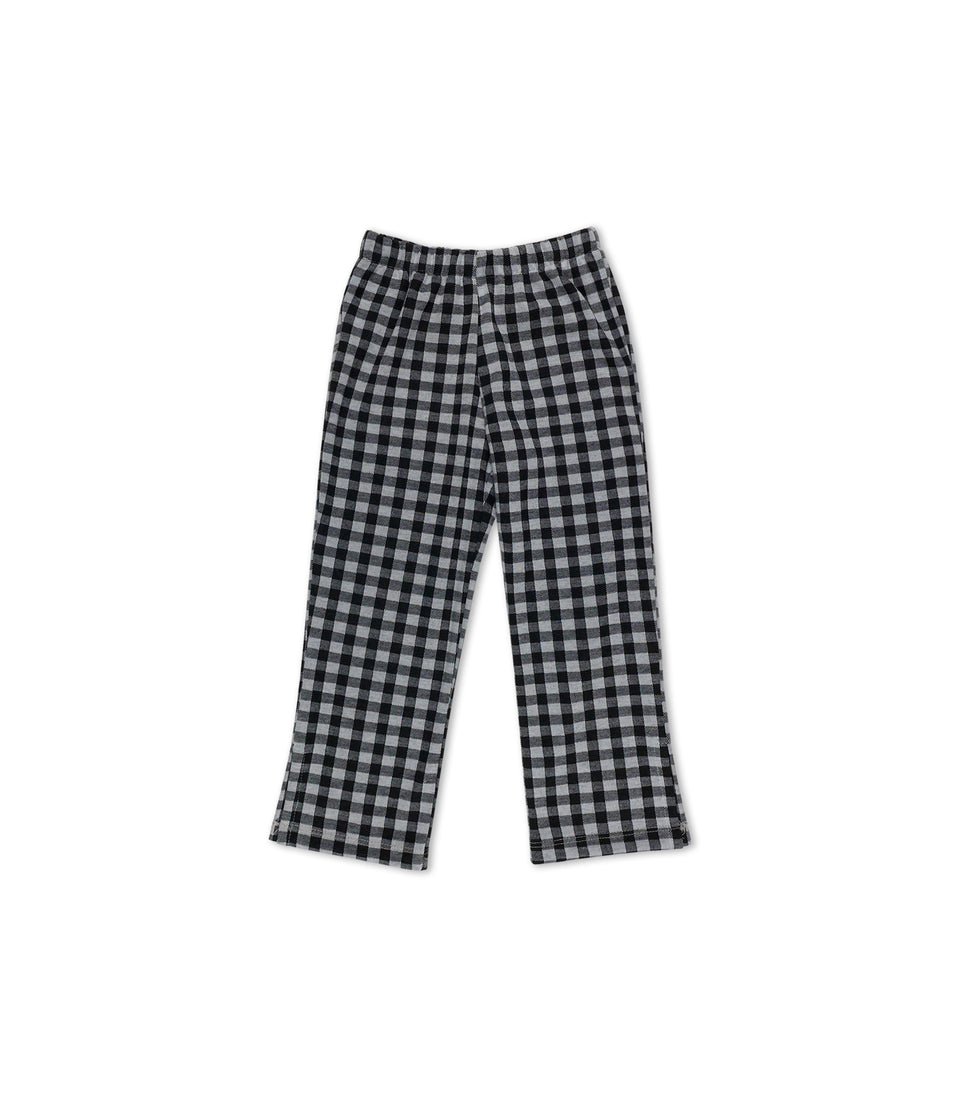 Gingham Long Pants, Black & White, Pants - bbobbo
