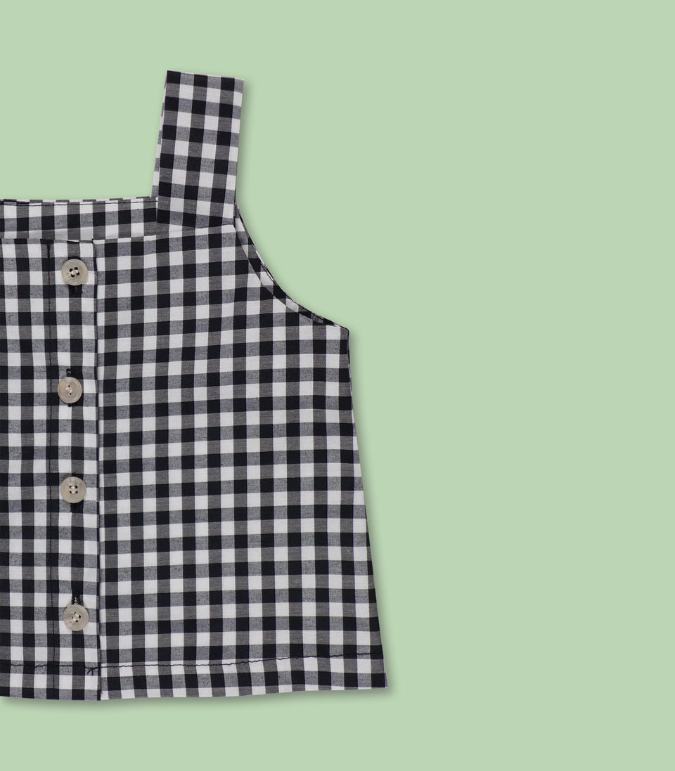 Gingham Sleeveless Button Up, Black & White, Shirts - bbobbo