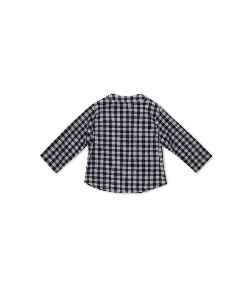 Gingham Long Sleeve Button Up, Black & White, Shirts - bbobbo