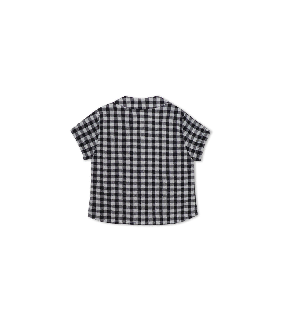 Gingham Short Sleeve Button Up, Black & White, Shirts - bbobbo