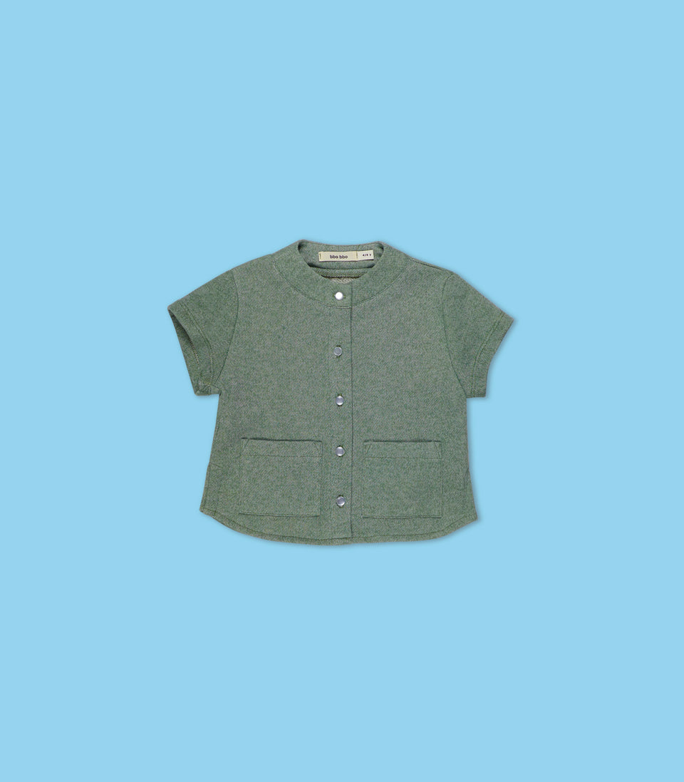 Terry Short Sleeve Button Up, Sage, Shirts - bbobbo