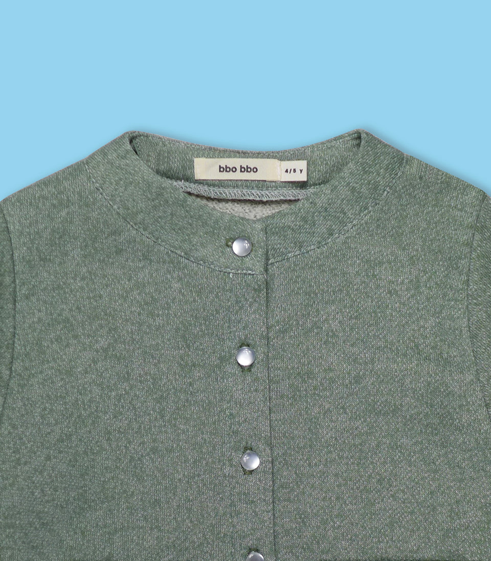 Terry Long Sleeve Button Up, Sage, Shirts - bbobbo