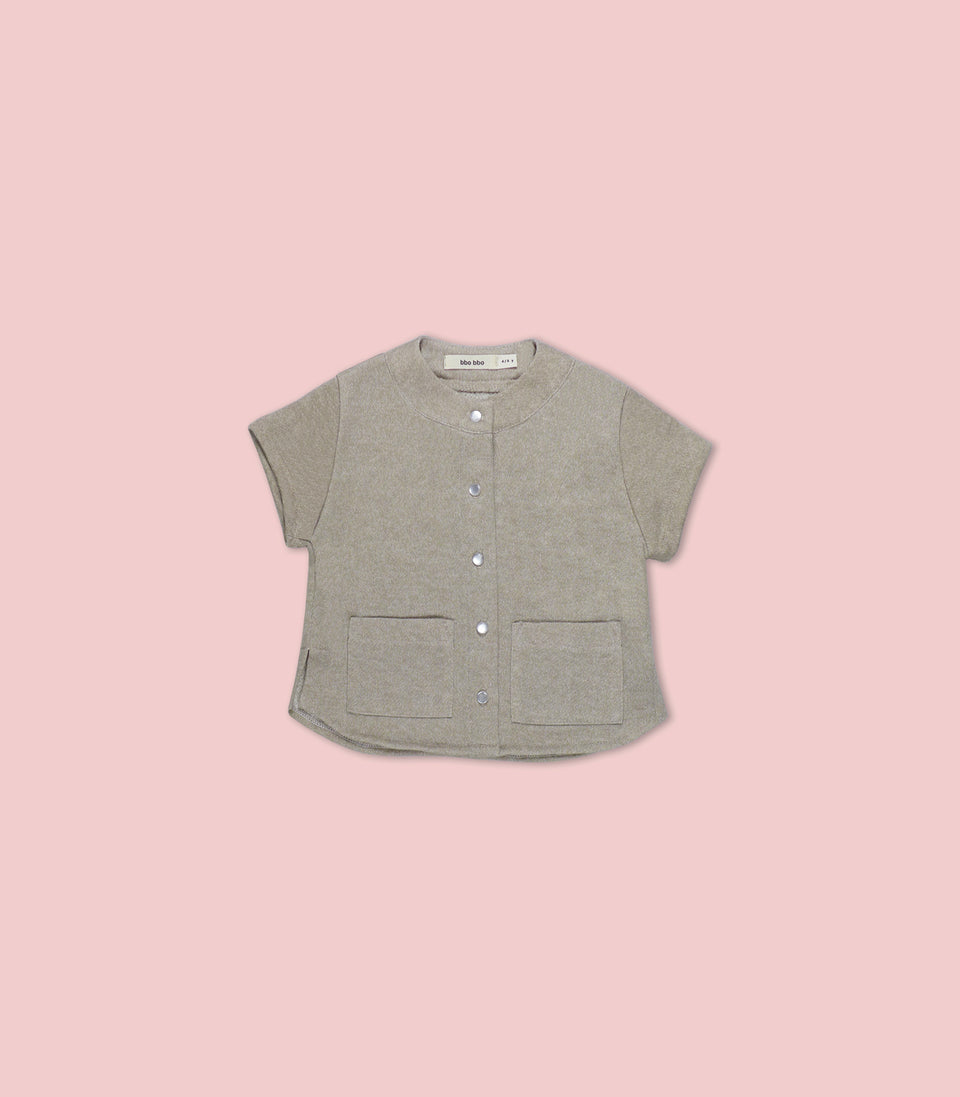 Terry Short Sleeve Button Up, Oatmeal, Shirts - bbobbo