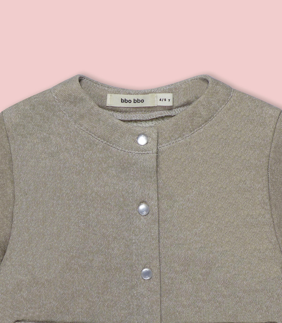 Terry Long Sleeve Button Up, Oatmeal, Shirts - bbobbo