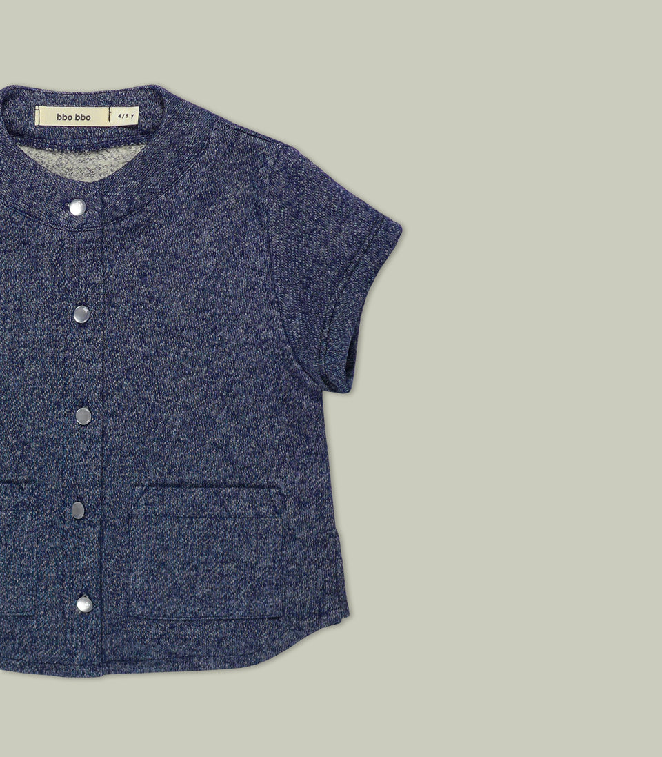 Terry Short Sleeve Button Up, Navy, Shirts - bbobbo