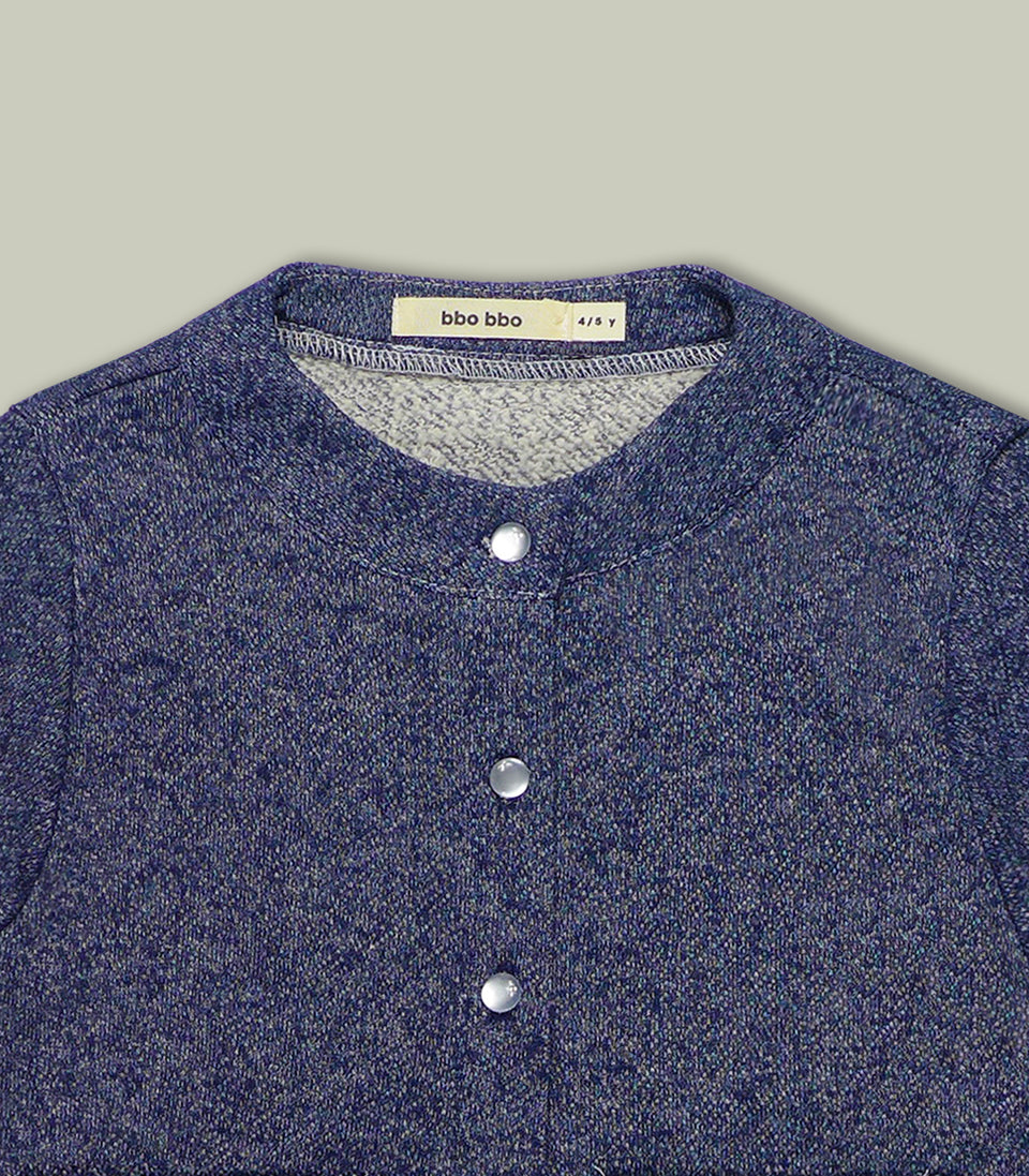 Terry Long Sleeve Button Up, Navy, Shirts - bbobbo