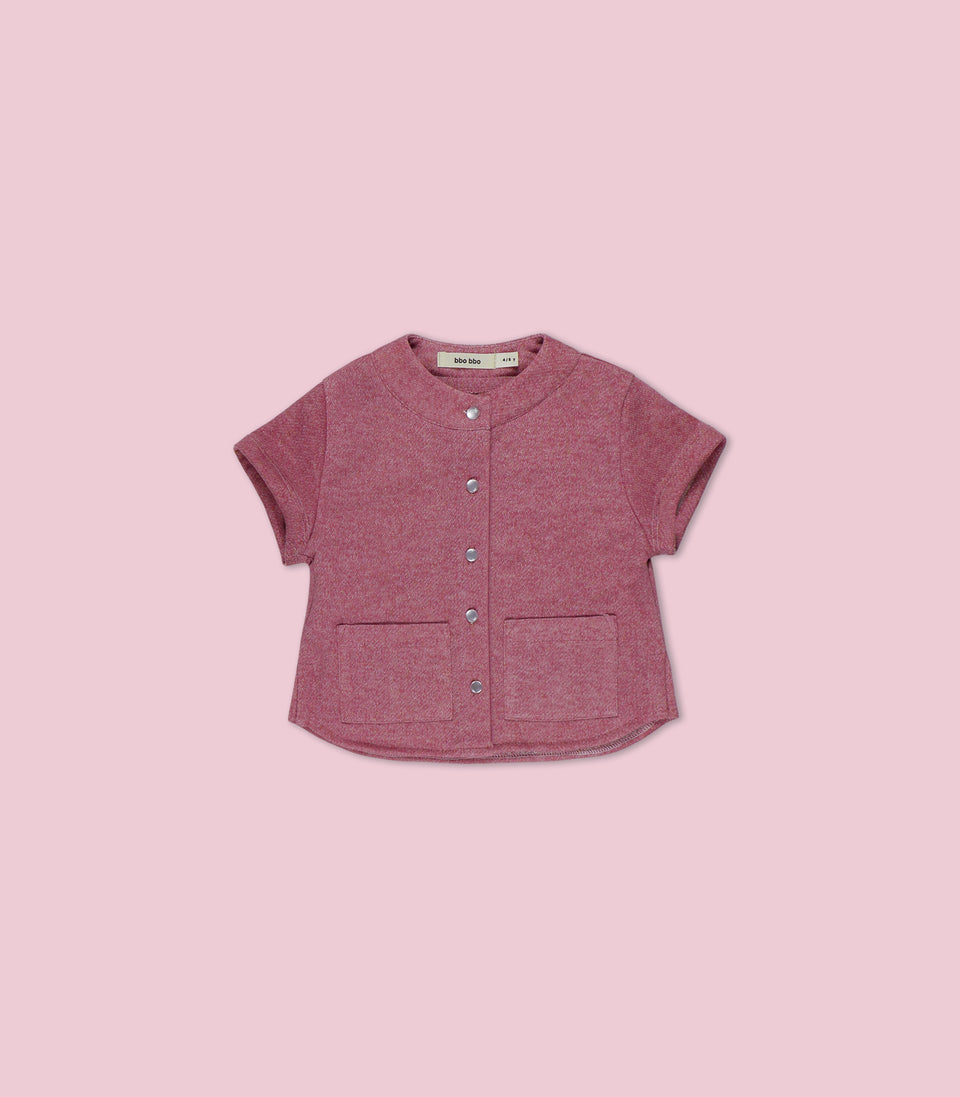 Terry Short Sleeve Button Up, Marsala, Shirts - bbobbo
