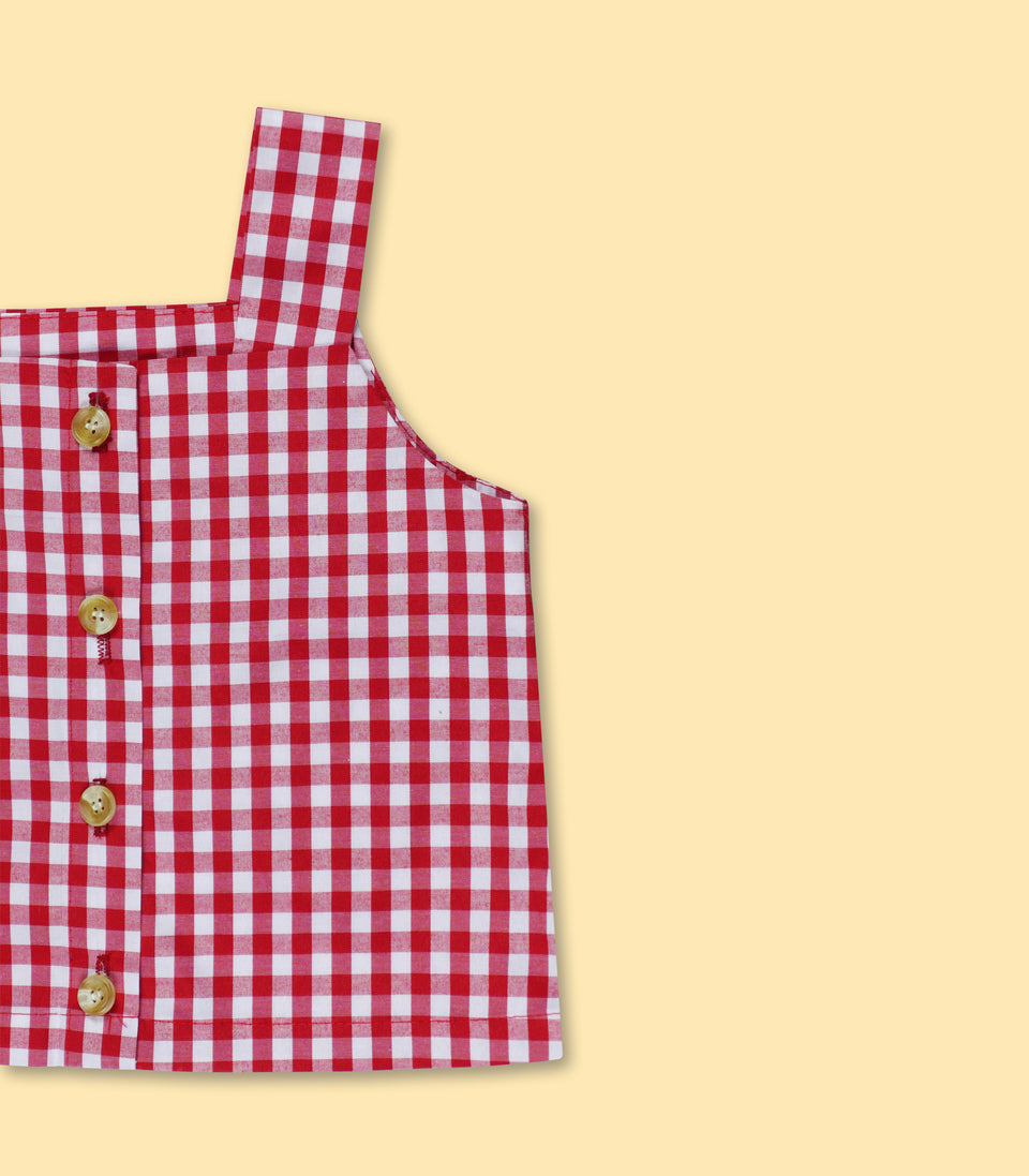 Gingham Sleeveless Button Up, Red & White, Shirts - bbobbo