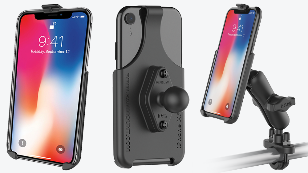RAM Form-Fit Cradles for the Apple iPhone X, XR, XS, and XS Max