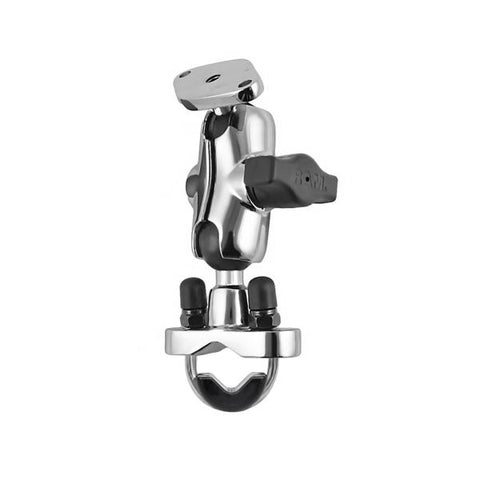 RAM Chrome Rail Mount with Short Double Socket Arm & Stainless Steel U-Bolt Base (RAM-B-149CH-LO4) - Mounts Singapore - RAM Mounts Singapore