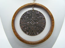 Recycled Wood Necklace with Flowery Metal Insert