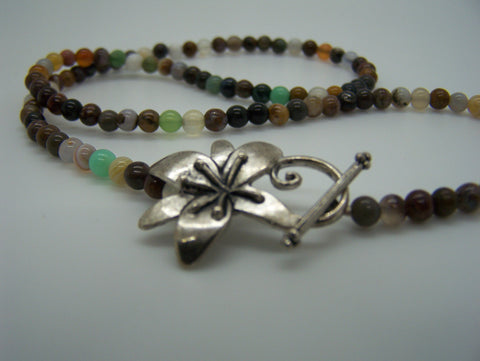Gemstone Necklace With Flower Clasp