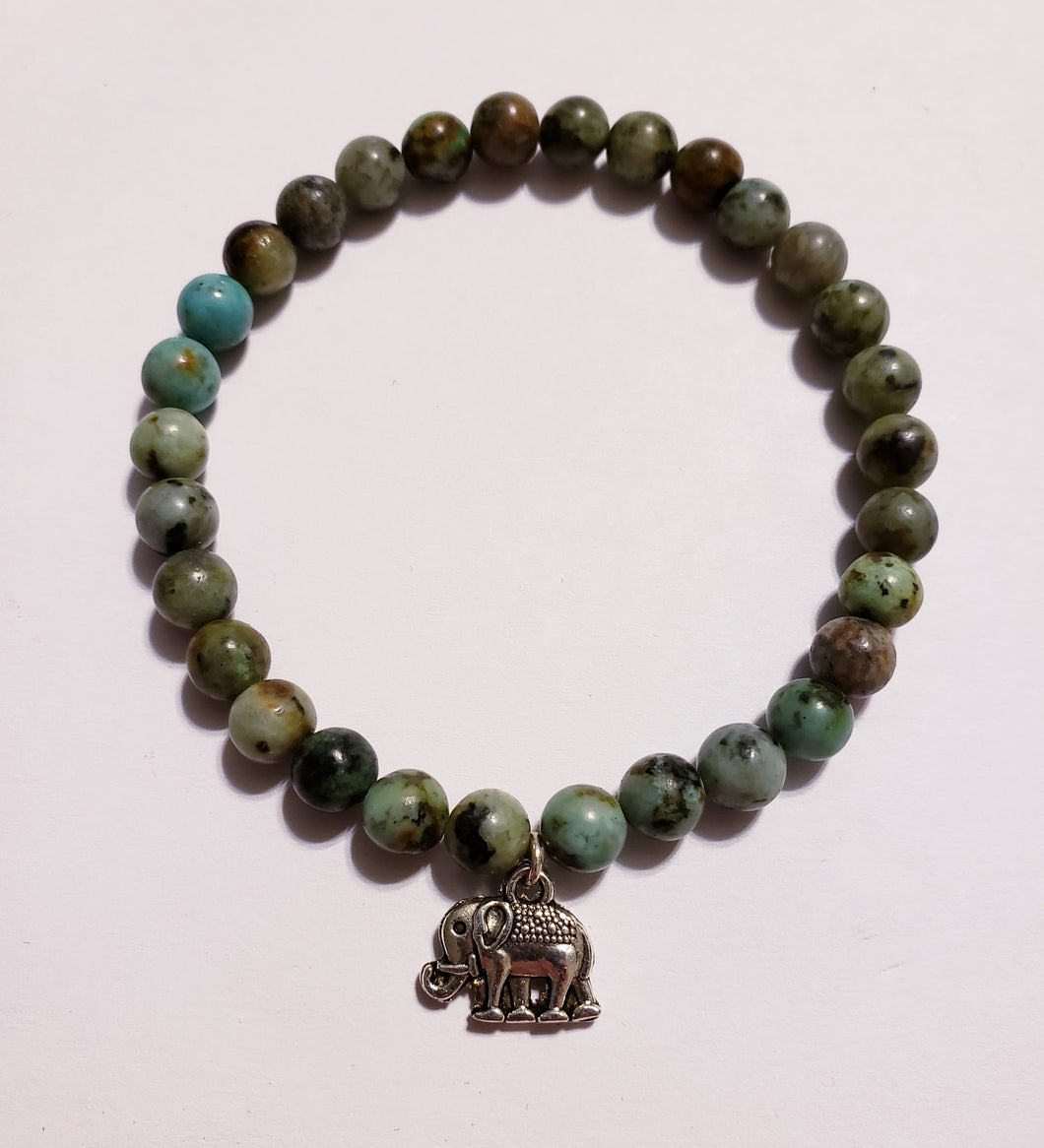 African Turquoise Bracelet With Elephant
