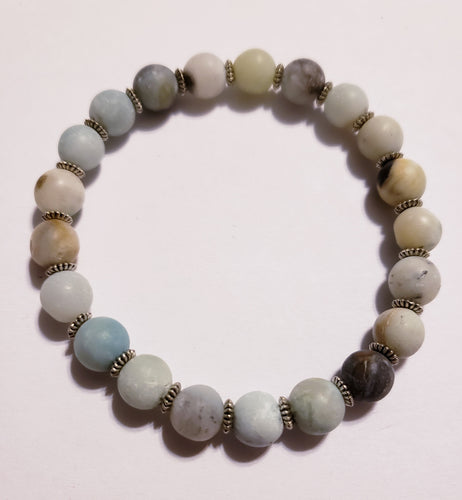Amazonite Bracelet With Silver Beads
