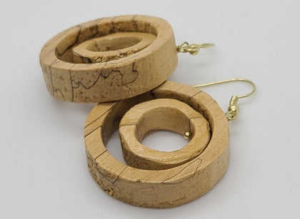 Double Wood Circle Earring