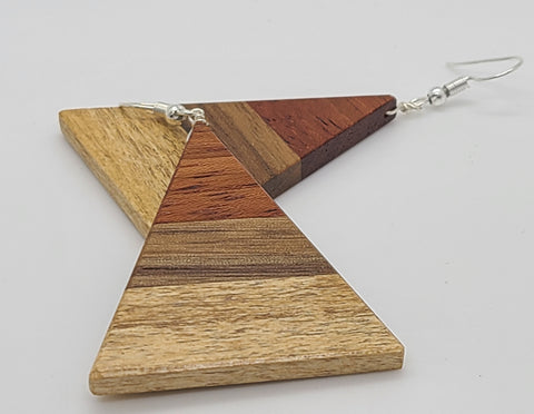 Tricolor Horizontal Triangle Wood Earring