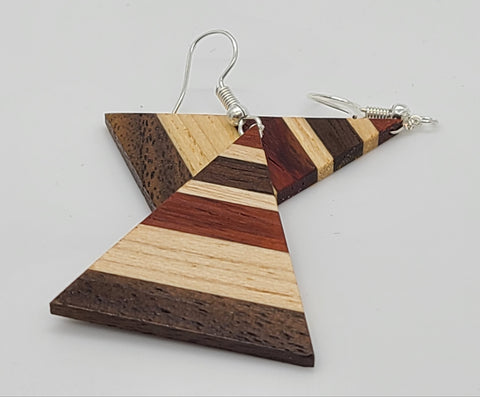 Horizontal Striped Wood Earring
