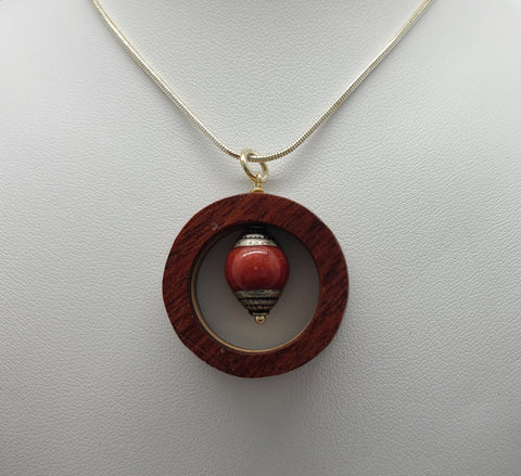 Tricolor Recycled Wood Necklace With Red Bead