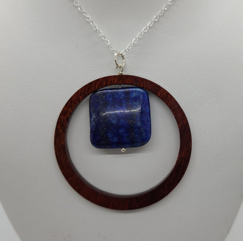 Lapis Lazuli Recycled Wood Necklace
