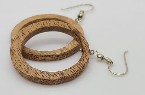 Recycled Wood Circle Earring
