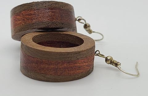 Two Color Circle Wood Earring