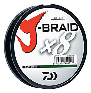Daiwa J-Braid x8 330YDS Dark Green Braided Line