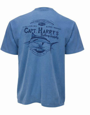 Capt. Harry's Burly Marlin Short Sleeve T-Shirt in Blue Jean
