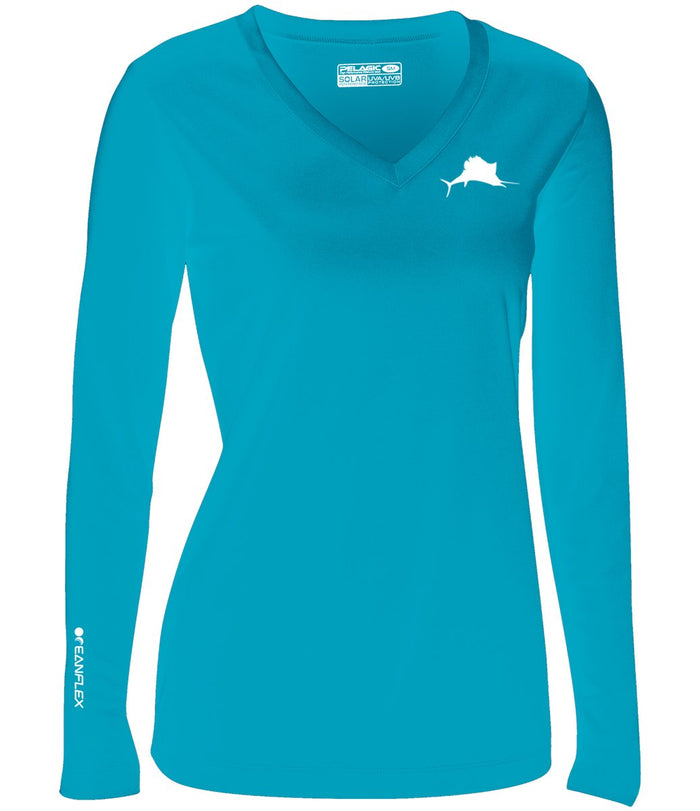 Pelagic Aqua L/S Women's Solar Performance Shirt