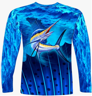 Adult L/S Sailfish All Over Performance Shirt UPF50