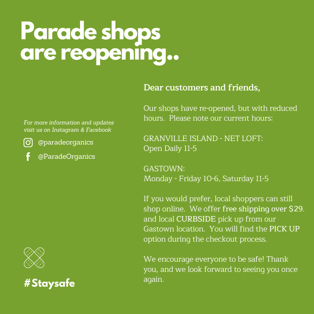 Parade Organics baby stores Vancouver