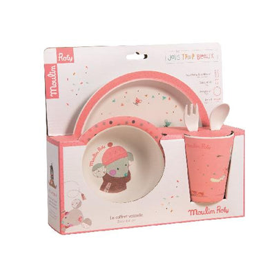 Moulin Roty 'Jolis Trop Beaux' Pink Dish Set - Organic Baby Clothes, Kids Clothes, & Gifts | Parade Organics