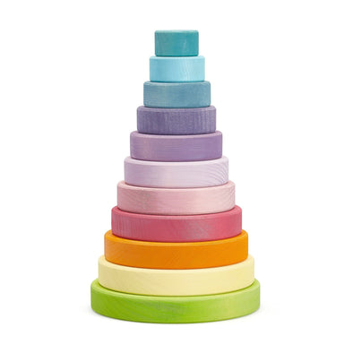 Grimm's Large Conical Stacking Tower - Rainbow Pastel - Parade Organics