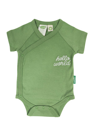 'Hello World' - Kimono Onesie Short Sleeve - Organic Baby Clothes, Kids Clothes, & Gifts | Parade Organics