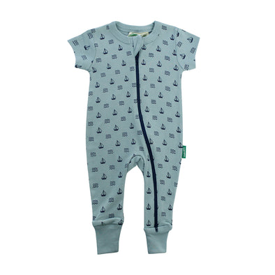 Signature Print '2-Way' Zip Romper Short Sleeve - Organic Baby Clothes, Kids Clothes, & Gifts | Parade Organics