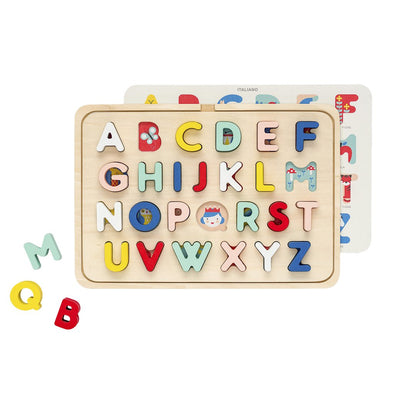 Multi-language alphabet wood tray puzzle