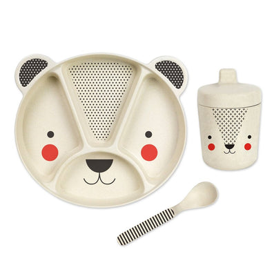 Petit Collage Bear 3-piece Bamboo Dish Set - Parade Organics