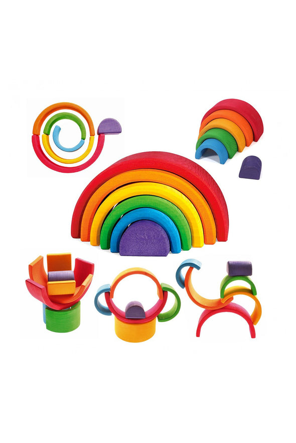 Grimm's Rainbow Wooden Stacker, Medium - Parade Organics