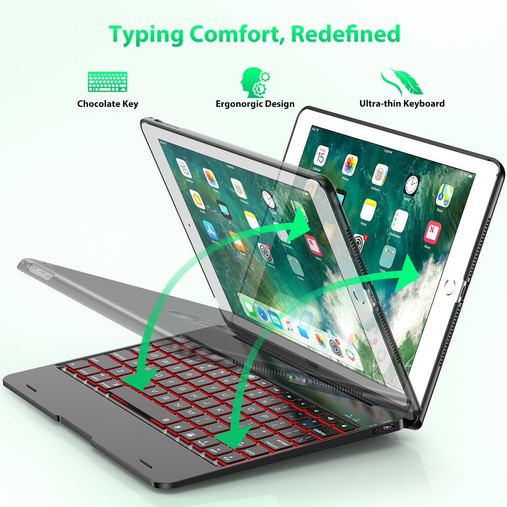 iPad 2017 Features Detachable Design Keyboard Case Compatible with iPad 2018 6th Gen Black and iPad Air 1 and 2 5th Gen Rotating Hinge and Adjustable Backlight iPad Pro 9.7