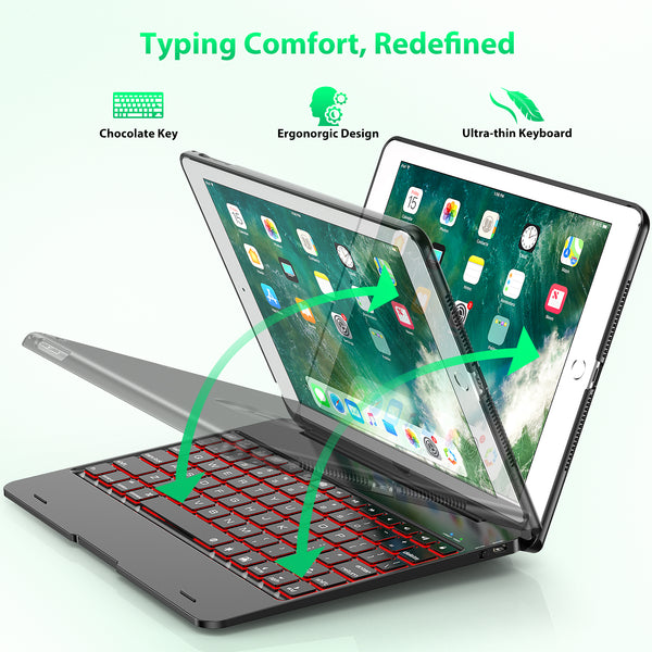 "Keyboard Case Compatible with tablet 2018 (6th Gen), 2017 (5th Gen), tablet Pro 9.7,"" and Air 1 and 2 - Features Detachable Design, Rotating Hinge and Adjustable Backlight"