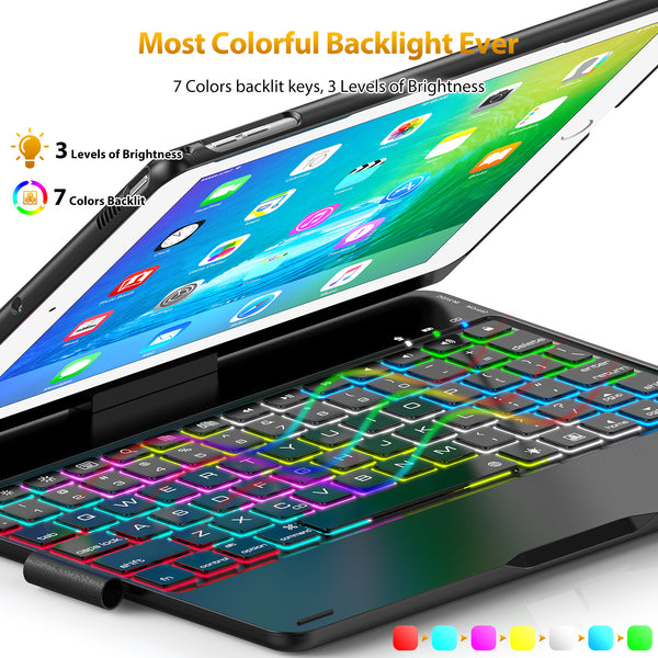 Keyboard Case Compatible tablet 2017(5th Gen)/2018 (6th Gen)/Air/Air2/Pro 9.7-360°Rotating Back Cover-Aluminum Bluetooth Keyboard,7 Colors Backlit(Only Compatible tablet 9.7)