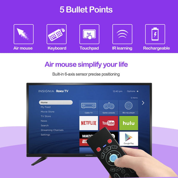 Mini Wireless Keyboard/Air Remote Control/Mouse / Touchpad Colorful Backlit, 2.4GHz Connection, Works For Android TV Box, HTPC, IPTV, PC